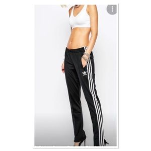 Adidas track pants wide leg three stripes size S